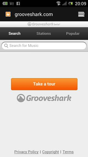 Grooveshark Mobile Website