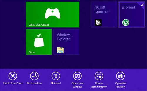 Windows 8 - Advanced Tile Options