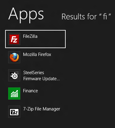 Windows 8 - Quick Search for Applications