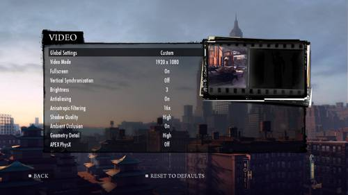 Mafia II - Settings