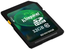 Kingston 32GB Class 10 SDHC Memory Card