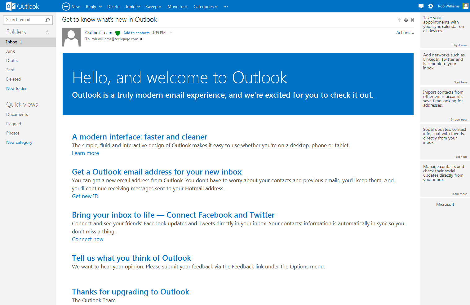 how to connect outlook online