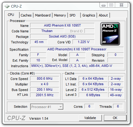 AMD Phenom II X6 1090T Six Core Processor