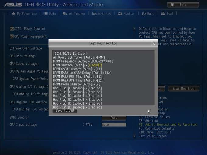 ASUS Z87-EXPERT - Change Log EFI Screen