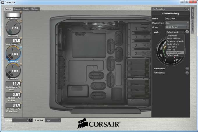 Corsair H100i Liquid CPU Cooler - Software Device Setup