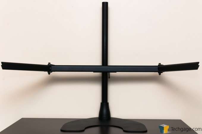 Ergotech Freedom Quad Desk Stand [100-D28-B13] - Arm assembly installed, angled position