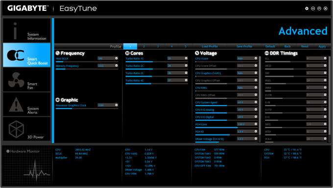 GIGABYTE Z87X-UD3H - EasyTune Advanced Overclocking Settings