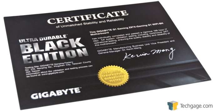 GIGABYTE Z97X-Gaming G1 WIFI-BK - Black Edition Certificate