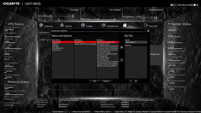 GIGABYTE Z97X-Gaming G1 WIFI-BK - Customized Menu Configuration