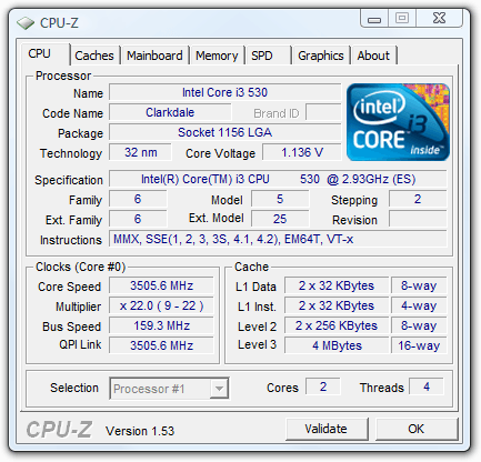Intel Core i3-530 Overclock