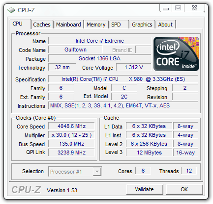 Intel Gulftown Core i7-980X Overclocking