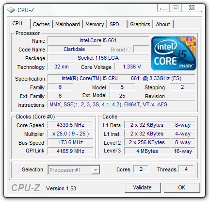 Overclocked Intel Core i5-661