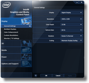 Intel's Graphics and Media Control Panel
