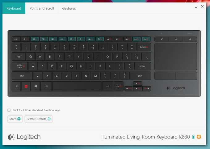 Logitech Illuminated Livingroom Keyboard K830 - Back