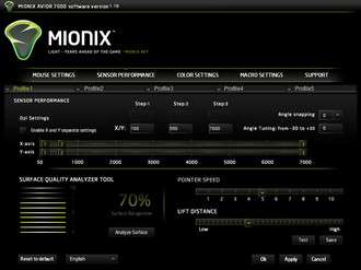 Mionix Avior 7000 Software - Sensor Performance