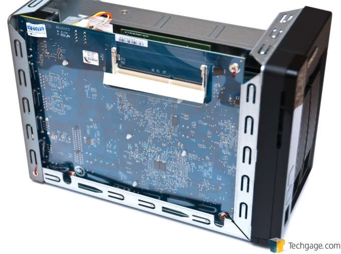 QNAP TS-269L Dual-bay NAS - Chassis Removed, Motherboard Exposed