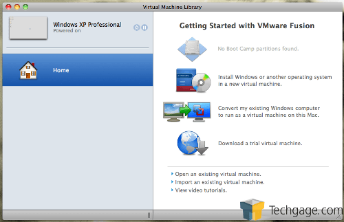 VMware Fusion 3 - Main Screen