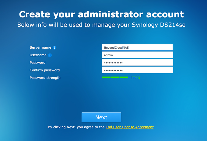 Synology BeyondCloud Preconfigured NAS - Creating Administrator Account