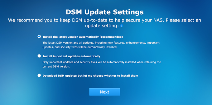 Synology BeyondCloud Preconfigured NAS - DSM Update Settings