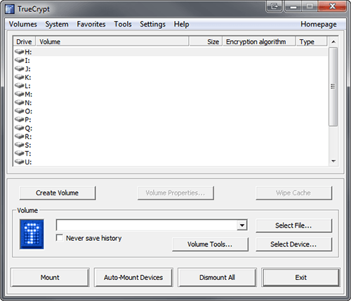 TrueCrypt Main Window