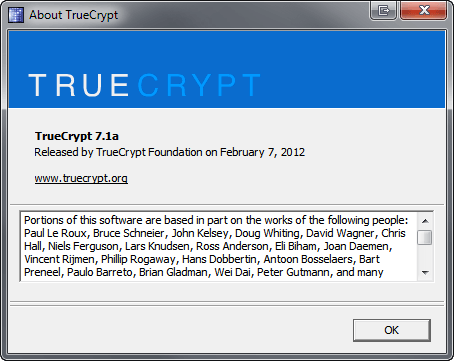 TrueCrypt About Box