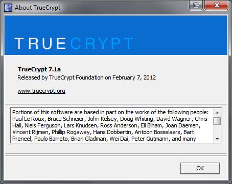 TrueCrypt About Box