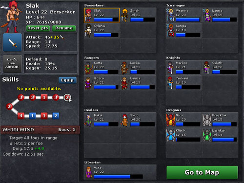 Defender's Quest: Party Screen