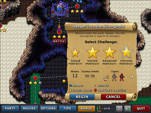 Defender's Quest: Battle Options Screen