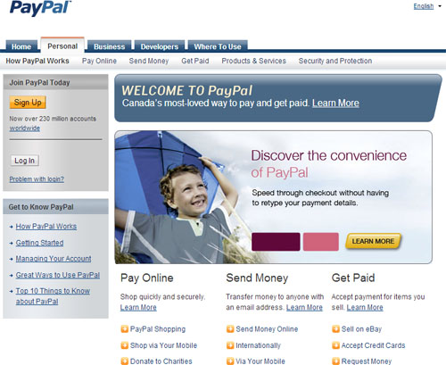 PayPal_Front_Page