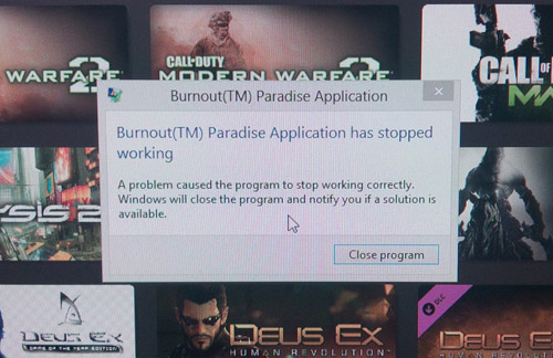 Burnout Paradise Error