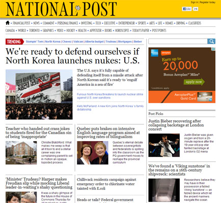 National Post Homepage