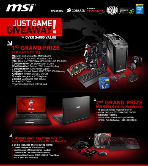 MSI Just Game Giveaway