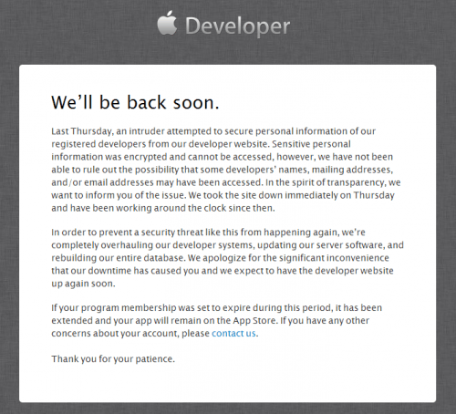 Apple Developer Hacked Site