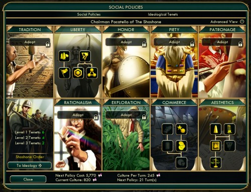 Civilization V Brave New World - Social Policies