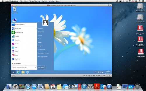 Parallels Desktop for Mac 9 - Windows 8 Start Menu