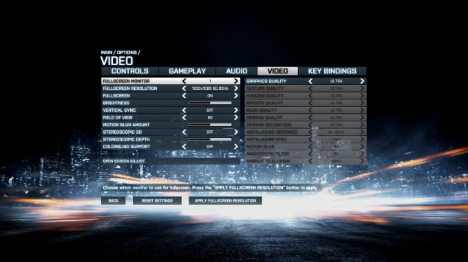 Battlefield 3 Benchmark Settings