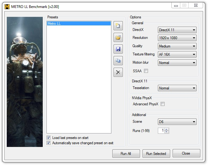 Metro Last Light Benchmark Settings