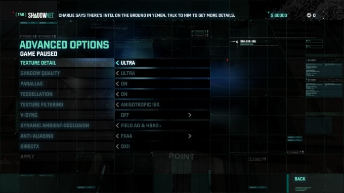 Splinter Cell Blacklist Benchmark Settings