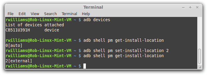 Android adb Setting External Storage Command-line Linux