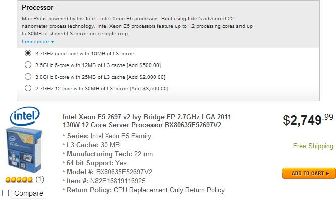 Apple Mac Pro 2013 Intel E5-2697