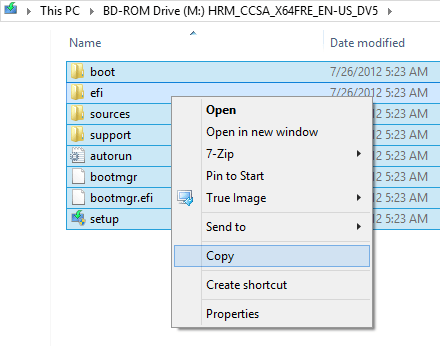 Copying Windows 8 Install Files to Flash Drive