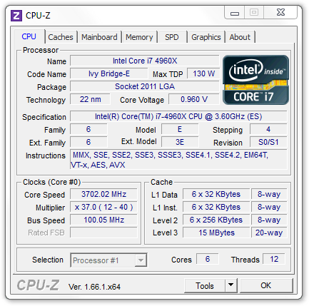 Intel Core i7-4960X CPU-Z