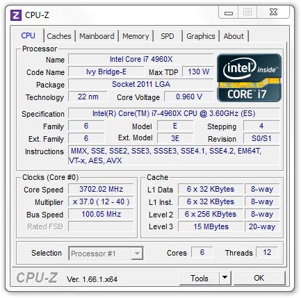 Intel Core i7-4960X CPU-Z