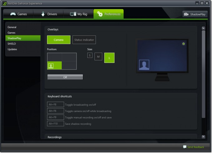 NVIDIA GeForce Experience ShadowPlay Twitch.tv