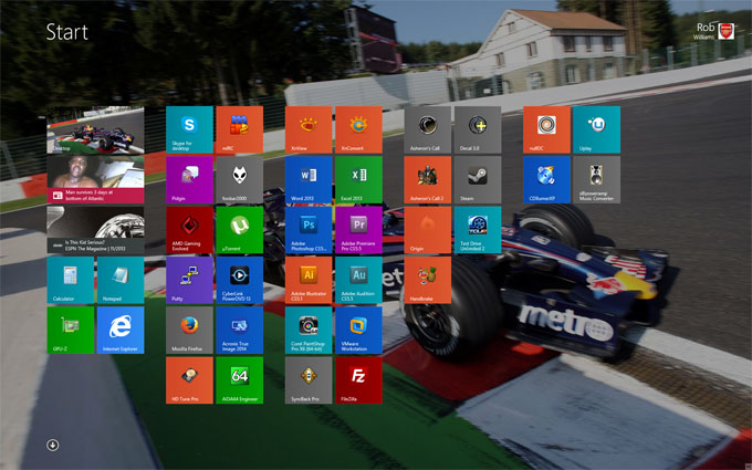 Rob's Windows 8 Start Screen
