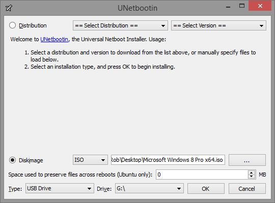 Using UNetbootin to Create a Windows 7 and 8 Bootable Flash Drive