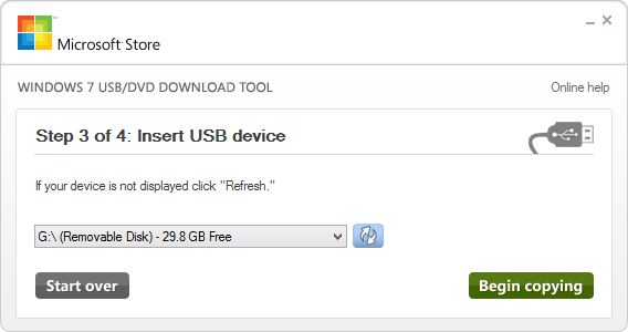 Windows 7 USB DVD Tool  - Choosing USB Flash Drive