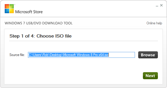 Windows 7 USB DVD Tool  - Choosing Windows 7 or 8 ISO