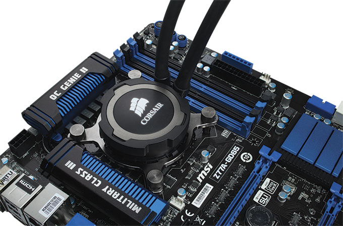 Corsair Hydro H105 CPU Cooler - Installed on Motherboard