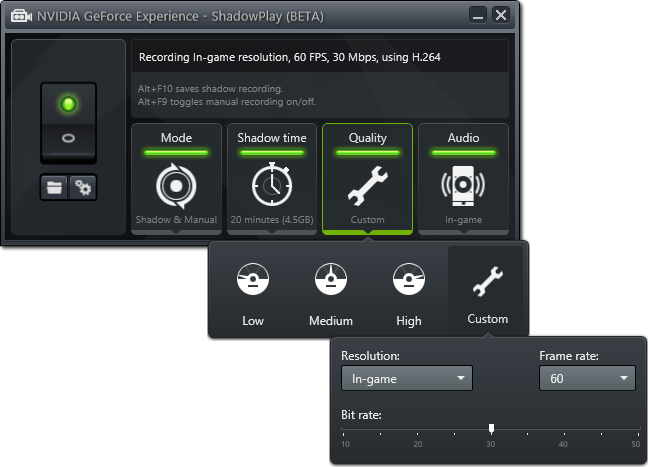 NVIDIA GeForce Experience ShadowPlay - Fine-tuning Video Options